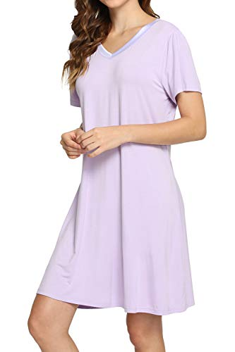 WiWi Womens Soft Bamboo Nightgowns Short Sleeve S-4XL, Taro Purple, Large