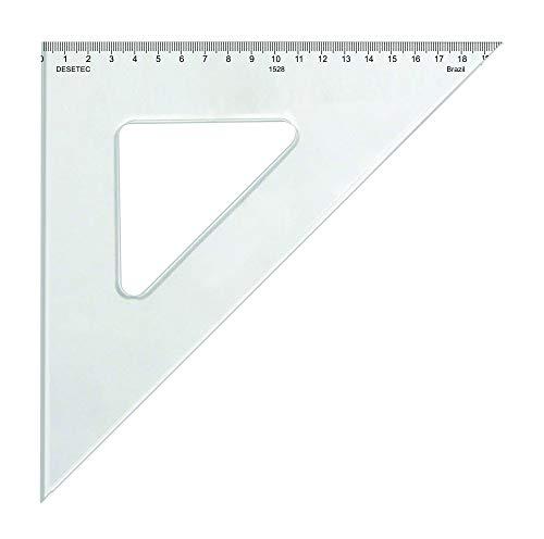 Esquadro 45° de 28 cm em Acrílico Cristal com Escalas Ref. 1528, Trident, Incolor