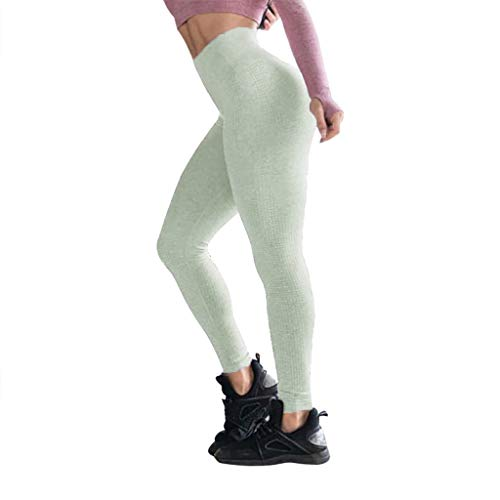 QueenMMWomen's Breathabel High Waist Tummy Control Yoga Pants Slim Fit Jacquard Point Workout Gym Leggings Army Green ()