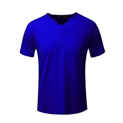 JJLIKER Men's Casual Short Sleeve Solid V-Neck Stretch Comfort Cotton T-Shirt Classic Undershirts for Summer(Multicolor) Blue
