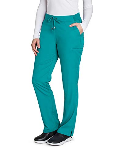 Grey's Anatomy 4277 Women's 6 Pocket Tie Front Scrub Pant Peacock Blue XSP (Peacock Blue)