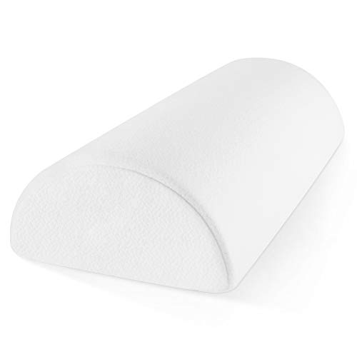 Zen Bamboo Memory Foam Half-Moon Bolster for Back & Knee Pain Relief - Wedge Pillow Provides Ultimate Support for Side & Back Sleepers - Semi Roll Pillow with Ultra-Soft, Washable Bamboo Blend Cover