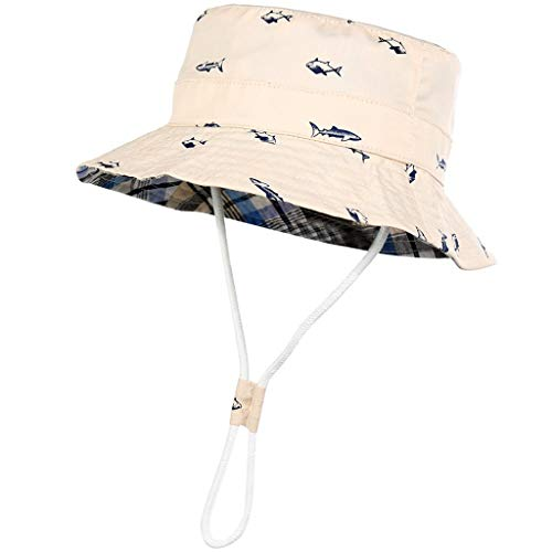 Meidexian888 Toddler Kids Bucket Sun Hat,Folding Fisherman UV Sun Protection Hat for 6 Months-8 Years (Beige, 52)