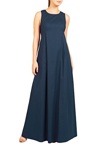 eShakti Women's Seamed empire cotton poplin maxi dress XL-18 Short Deep navy