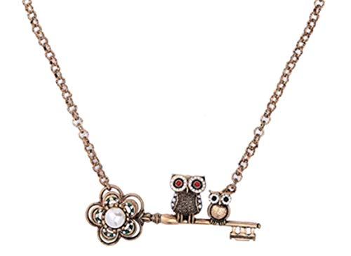 - NORTHSTAR PEARLS AND JEWELRY: Two Owls on Flower Pearl Key Necklace for Adults. Crystal Vintage Gold-Tone Color Cute Chain Necklace