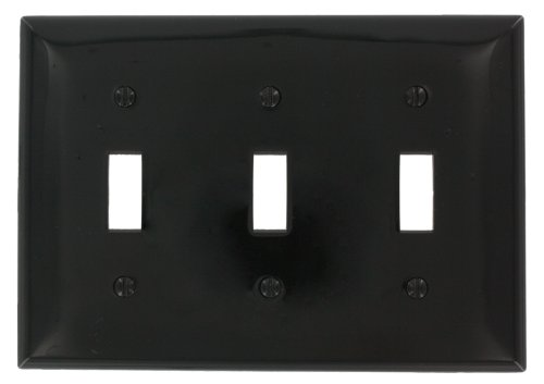 Black Standard Switch - Leviton 80711-E 3-Gang Toggle Device Switch Wallplate, Black