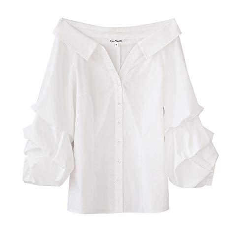 Dabuwawa Women White Sexy Puff Sleeve Button-Down Shirts New Office Lady Formal Elegant Blouses Top Small from Dabuwawa