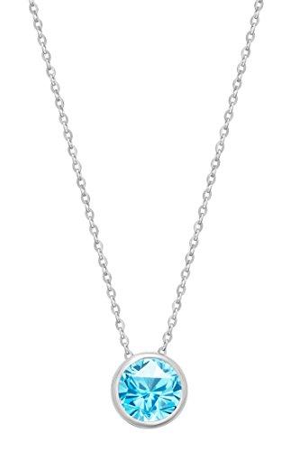 (14k White Gold 7mm Round Swiss Blue Topaz Bezel Gemstone Pendant Necklace, 18