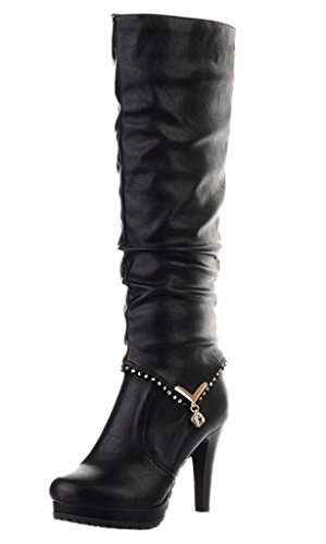 Heeled Heel 2 Womens Winter Black Autumn Shoes Ankle High Styles Wearing Boots Boots Boots Maybest Boots Biker wAxvq