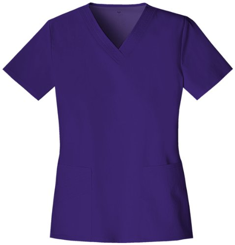 Cherokee Luxe by Women's Two Pockets V-Neck Solid Scrub Top Medium Berry Bodacious