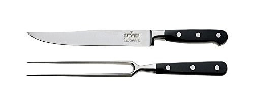 Richardson Sheffield V Sabatier PREMIUM 2 Piece Carving Knife and Fork Set with Black Handles Stainless Steel 25 Year Guarantee