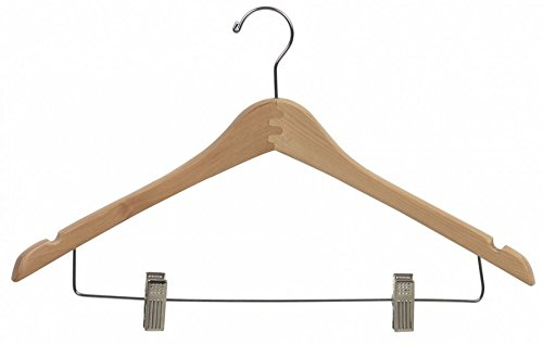 Box of 25 The Great American Hanger Company Curved Wood Combo Hanger w//Adjustable Cushion Clips 17 Inch Wooden Hangers w//Natural Finish /& Chrome Swivel Hook /& Notches for Shirt Jacket or Dress B00748QVYU