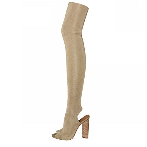 Price comparison product image Dormery Women Boots Autumn Winter Over The Knee Boots High Heel Peep Toe Thick Heel Bootie Woman Slingback botas Beige 10.5