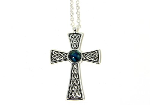 Heathergems Celtic Cross Necklace Silver Plated Made in Scotland