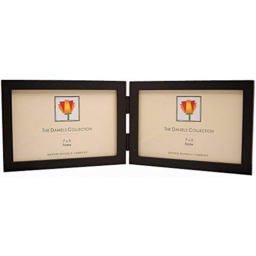 Dennis Daniels Gallery Woods Hinged Double Horizontal Picture Frames, 7 x 5 Inches, Ebony