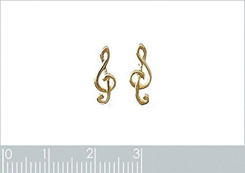 ISADY - Solla Gold - Boucles d'oreille - Plaqué or jaune 18K - Clous d'oreille - Note de Musique - Clé de sol