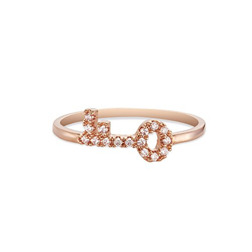 Rose Or Plaque Bague, Avec Micro Pave AAA Zircon Cle Accessoires, Rose Or, 16mm