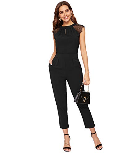 - MAKEMECHIC Women's Causal Lace Contrast Cuff Pleated Cap Sleeve Jumpsuit Black XL