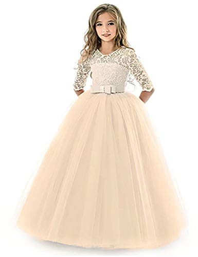 KISSOURBABY Long Dresses for Girls Pageant Party Holiday Graduation Dress for Girls Dresses Ball Gowns for Girls Long Sleeve Birthday Fancy Tutu Dress 2-3Years Old (Champagne110)