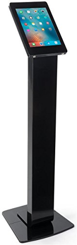 Displays2go Black iPad Pedestal Stands, Secure Enclosure with Anti-Theft Device, Supports iPad Pro 12.9'', Aluminum Construction – Black (IPROSTNBK1) by Displays2go