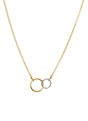 - Dogeared Sister Love, Two Mixed Metal Linked Rings Necklace, 16