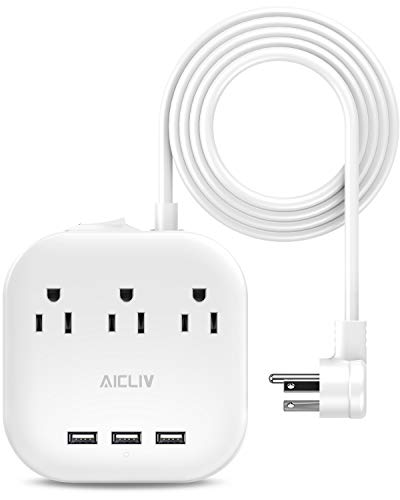 Power Strip with USB, Aicliv Desktop Charging Station with 3 Outlet and 3 USB Ports, Flat Plug, 5ft Extension Cord, Multi Outlet Extender for Hotels, Dorm Room, Cruise Ship and Home, 1625W/13A, White