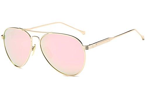 GAMT Retro Polarized Aviator Sunglasses Mirrored Lens Metal Frame for Women Gold Frame Rose - Sunglasses Gold Aviator Mirrored Rose