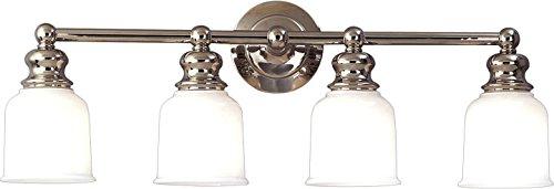 Riverton 4-Light Vanity Light - Polished Nickel Finish with Opal Glossy Glass Shade