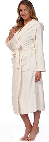 Patricia Women's Premium Soft Plush Robe Full Length with Hood (Gardenia, - Microfleece Bathrobe Womens