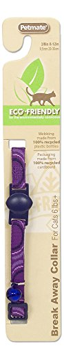 Aspen Cat Bell (Petmate 8-12-Inch Eco Friendly Breakaway Circle Cat Collar, Purple)