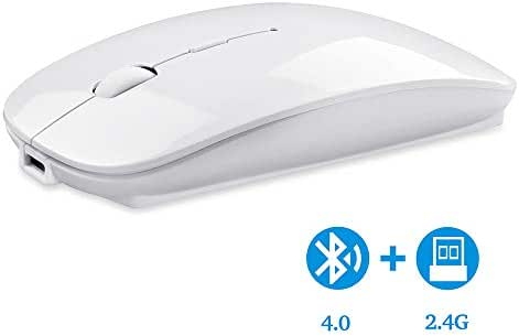 Bluetooth Wireless Mouse, Dual Mode Slim Rechargeable Wireless Mouse Silent Cordless Mouse with Bluetooth 4.0 and 2.4G Wireless, Compatible with Laptop, PC, Windows Mac Android OS Tablet (White)