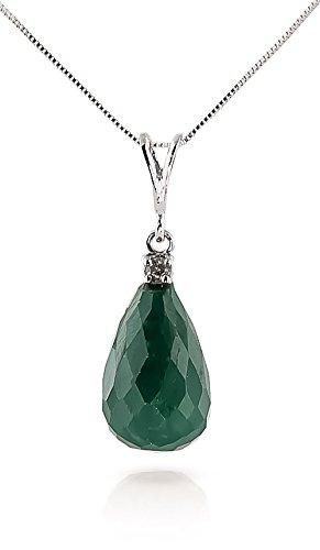QP joailliers naturel & Diamant Collier Pendentif émeraude en or blanc 9carats, 8,80CT-3291W