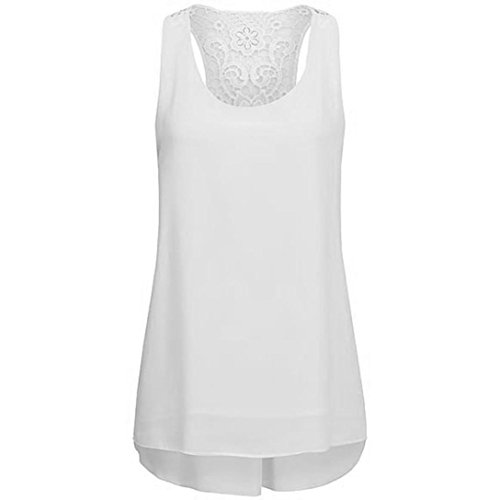 Sexyville Dbardeur Femmes Mousseline de Soie Irrgulier Hem Stitching Chemises Sans Manche Et Gilet Casual Tops Grande Taille T-Shirt Tank Blanc