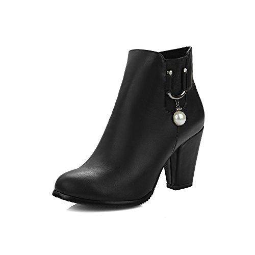JIEEME Ladies Zip Round Toe Block Heels Women Boots Brown Black Ankle Shoes Women Black DRzM6OgU