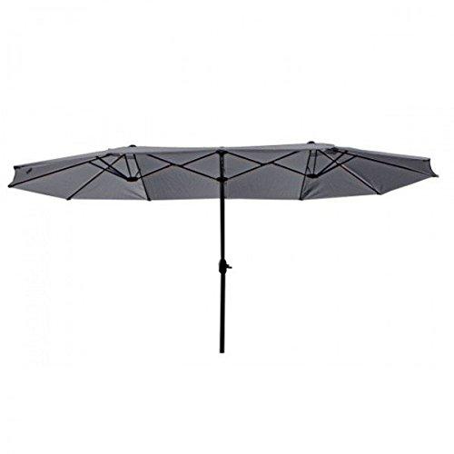 Doppel-Sonnenschirm anthrazit creme 250 cm Stahl Alu Polyester Gartenschirm Schirm, Farbe:Anthrazit
