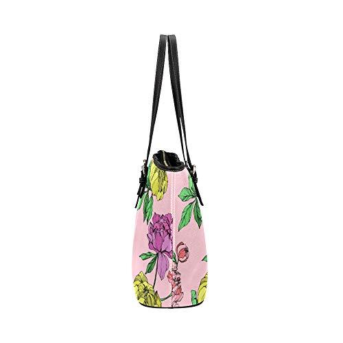 Damväskor crossbody vacker gul vår retro pion läder handväskor väska orsaksala handväskor dragkedja axel organiserare för damer flickor kvinnor crossbody messengerväska