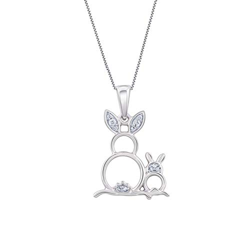 1/20 Carat 10K White Gold Mom and Baby Bunny Rabbit Natural Diamond Pendant Necklace (H-I Color, I2 Clarity) Diamond Pendant Necklace for Women Jewelry Gifts for Women