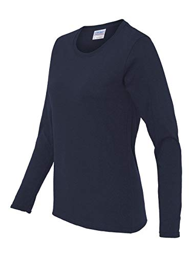 Misses heavy cotton long sleeve t-shirt. (Navy) (2X-Large) ()