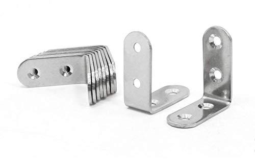 JZK Pack de 20 Soportes de acero inoxidable Soporte de /ángulo recto Sujetador de esquina con 80 tornillos PCS 40 x 40mm borde redondo