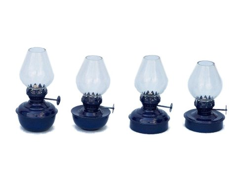 "Hampton Nautical  Iron Table Oil Lamp, 5"", Set of 4, Dark Blue, Iron"
