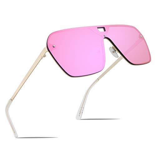 FaceWear Rimless Mirrored Sunglasses Oversized One Piece Frameless Eyeglasses Men Women FW1019 C4-PINK