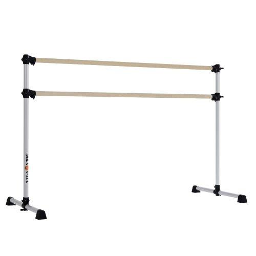 Vita Vibe BD72-W Traditional Wood Portable Double Bar Ballet Barre/Freestanding Stretch/Dance Bar, 6-Feet