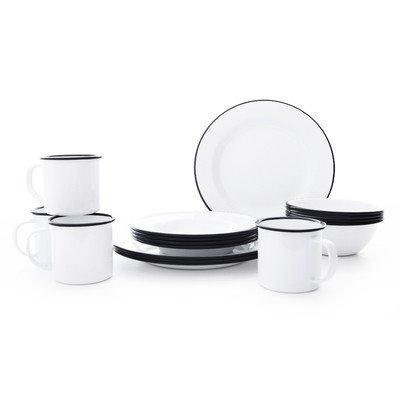 Enamelware Starter Set, 16 piece, Vintage White/Black