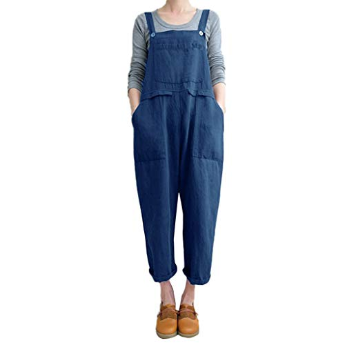 Drindf Women's Loose Linen Wide Leg Jumpsuit Rompers Bib Long Suspender Overalls Harem Pants Plus Size S-5XL Blue