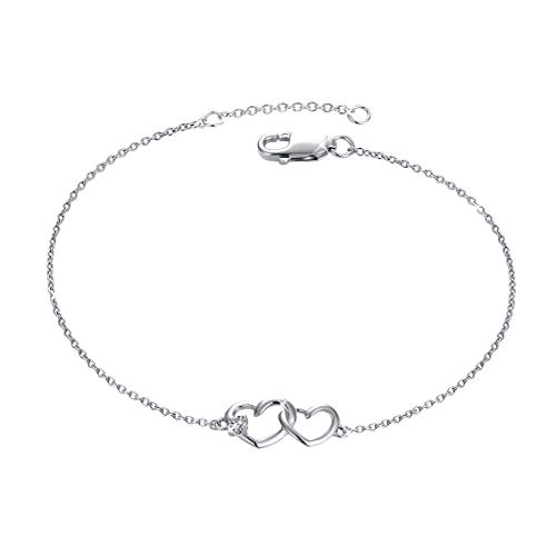 MUATOGIML 925 Sterling Silver Infinity Endless Love Heart Bracelet Adjustable Chains Gifts for Women Girls
