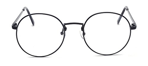 Outray Retro B236 Round Metal Clear Lens Glasses Black