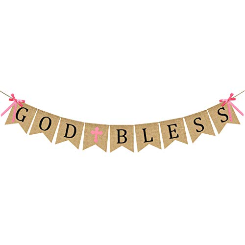 God Vintage - God Bless Baptism Banner Burlap - First Communion Party Banner - Vintage Bunting Garland Christening Decoration Supplies for Wedding, Baby Shower Party - Pink