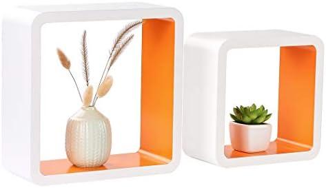 Homewell Set of 2 Cube Floating Shelves, Wood Wall Shelves for Home Decoration, Storage Display Rack, White Orange.