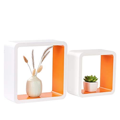 Homewell Set of 2 Cube Floating Shelves, Wood Wall Shelves for Home Decoration, Storage Display Rack, White+Orange.