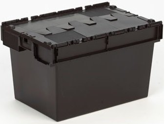 10 x Attached Lidded Plastic Box 80 Litres – Recycled Plastic Storage Box Container Crate Tote with Lid – Attached Lid…